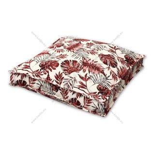 Μαξιλάρα δαπέδου κόκκινη floral με διακοσμητική ραφή