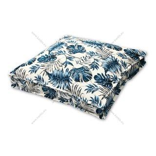 Μαξιλάρα δαπέδου μπλε floral με διακοσμητική ραφή