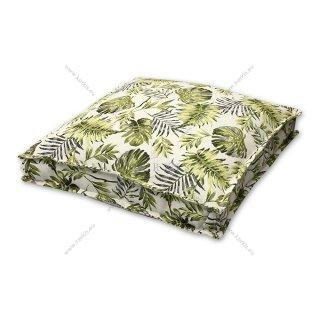 Μαξιλάρα δαπέδου πράσινο floral με διακοσμητική ραφή