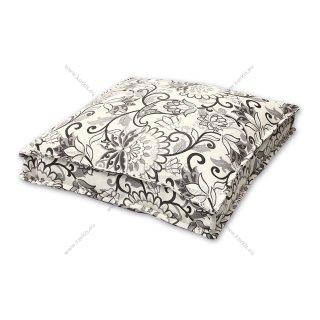 Μαξιλάρα δαπέδου floral γκρι με διακοσμητική ραφή