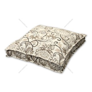 Μαξιλάρα δαπέδου floral μπεζ με διακοσμητική ραφή