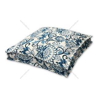 Μαξιλάρα δαπέδου floral μπλε με διακοσμητική ραφή