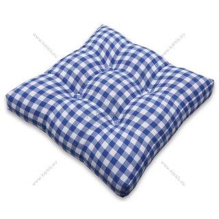 Μαξιλάρι με διακοσμητικά κουμπιά καρό μπλέ