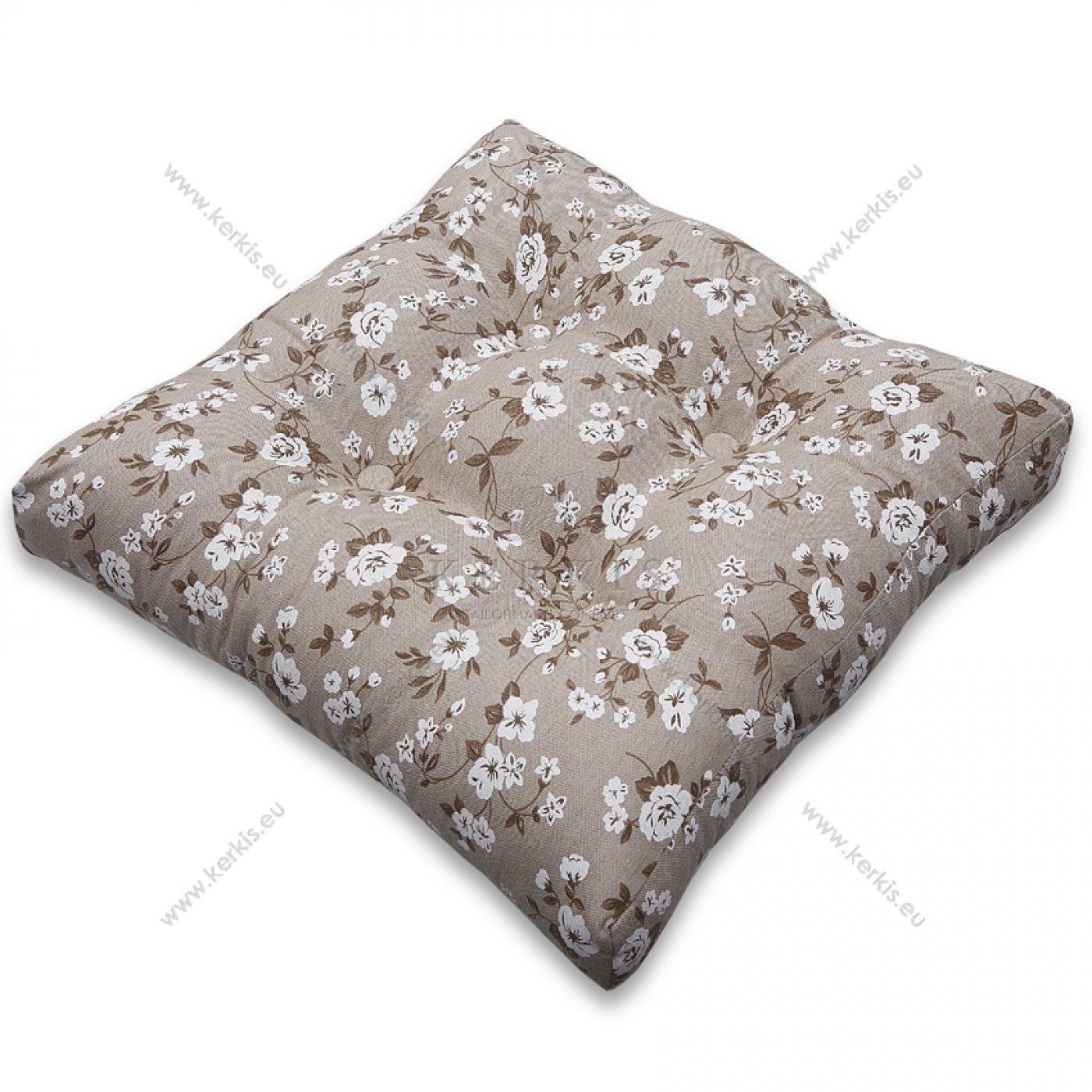Μαξιλάρι με διακοσμητικά κουμπιά με λουλούδια