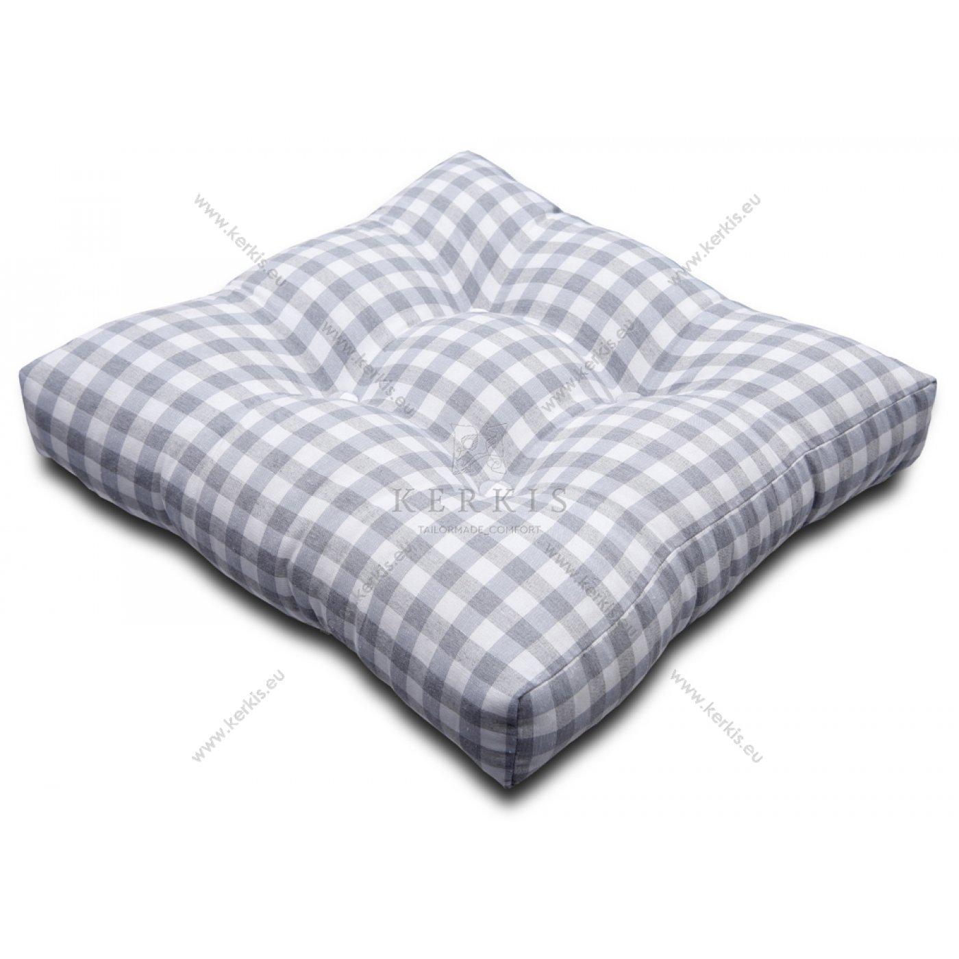 Μαξιλάρι με διακοσμητικά κουμπιά καρό γκρι