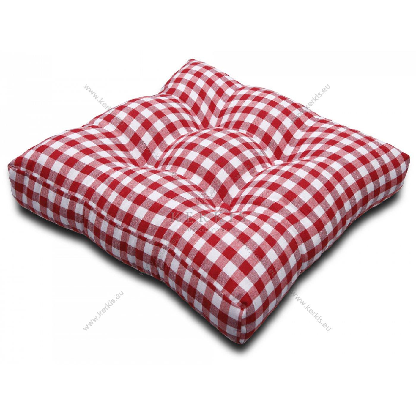 Μαξιλάρι με διακοσμητικά κουμπιά καρό κόκκινο