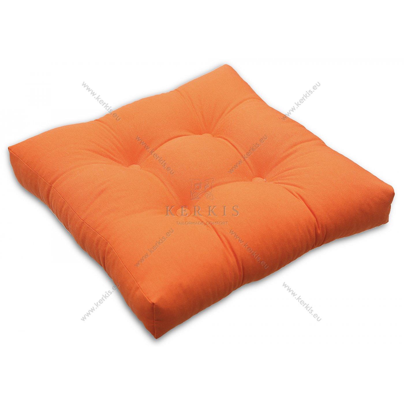 Μαξιλάρι με διακοσμητικά κουμπιά πορτοκαλί