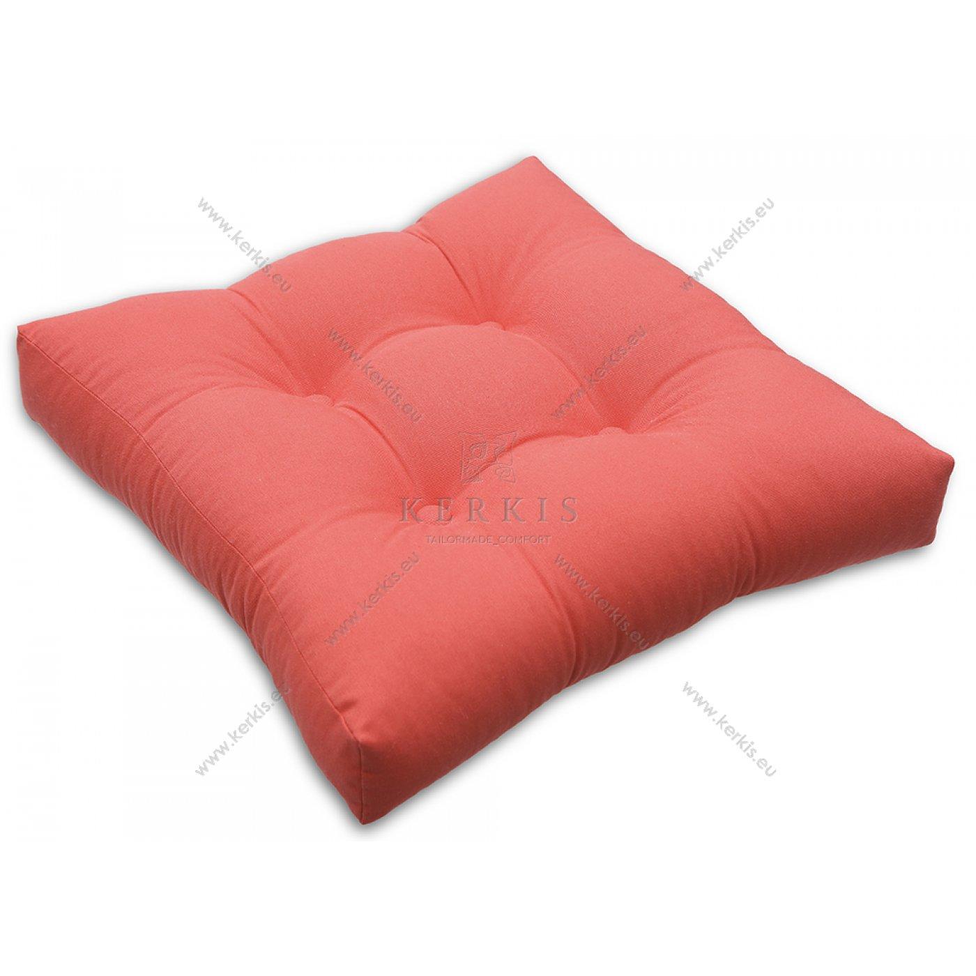 Μαξιλάρι με διακοσμητικά κουμπιά κοραλλί