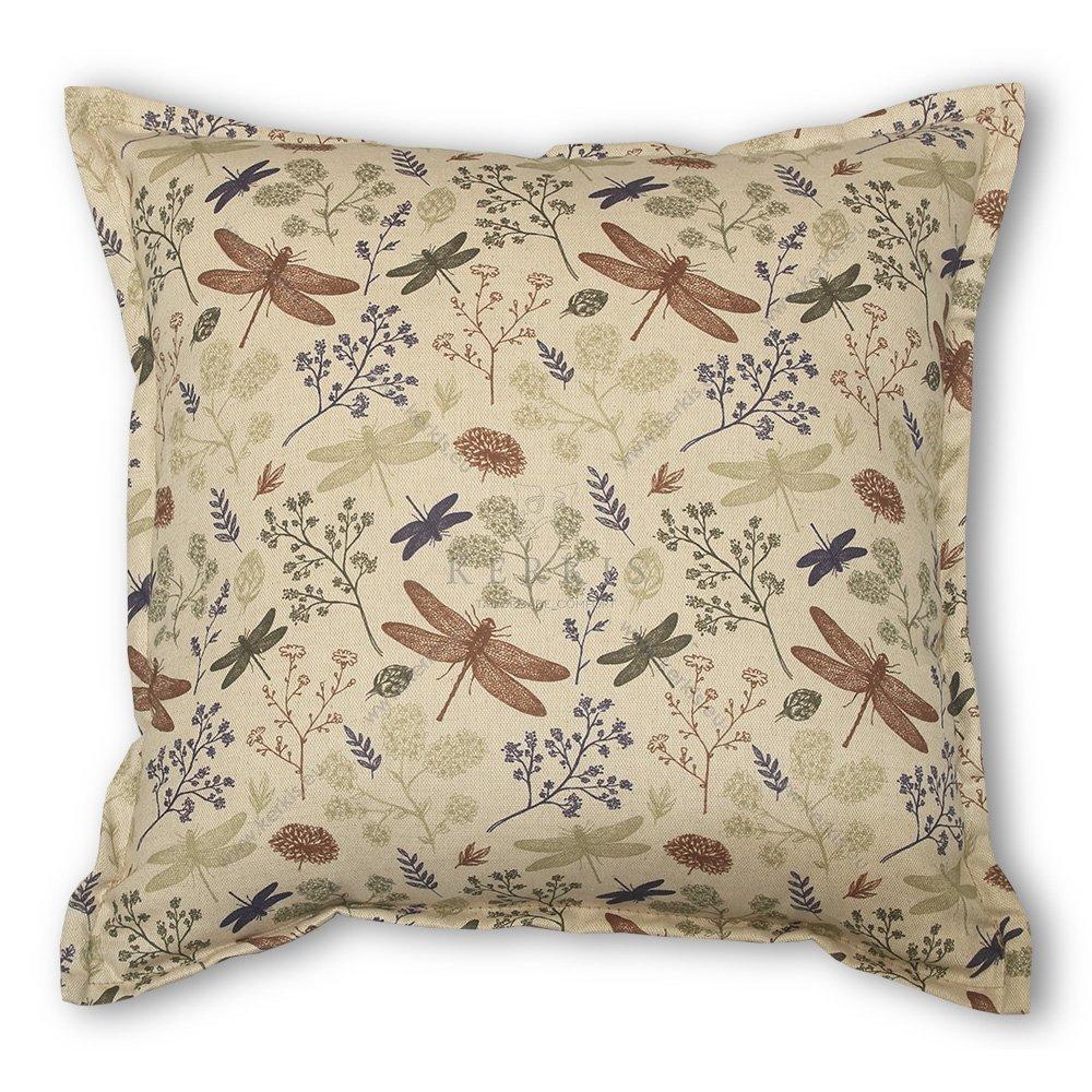 Μαξιλάρι διακοσμητικό καναπέ, χρώμα μπεζ, λιβελούλα