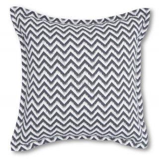 Διακοσμητικό μαξιλάρι καναπέ, χρώμα ανθρακί, ζικ-ζακ