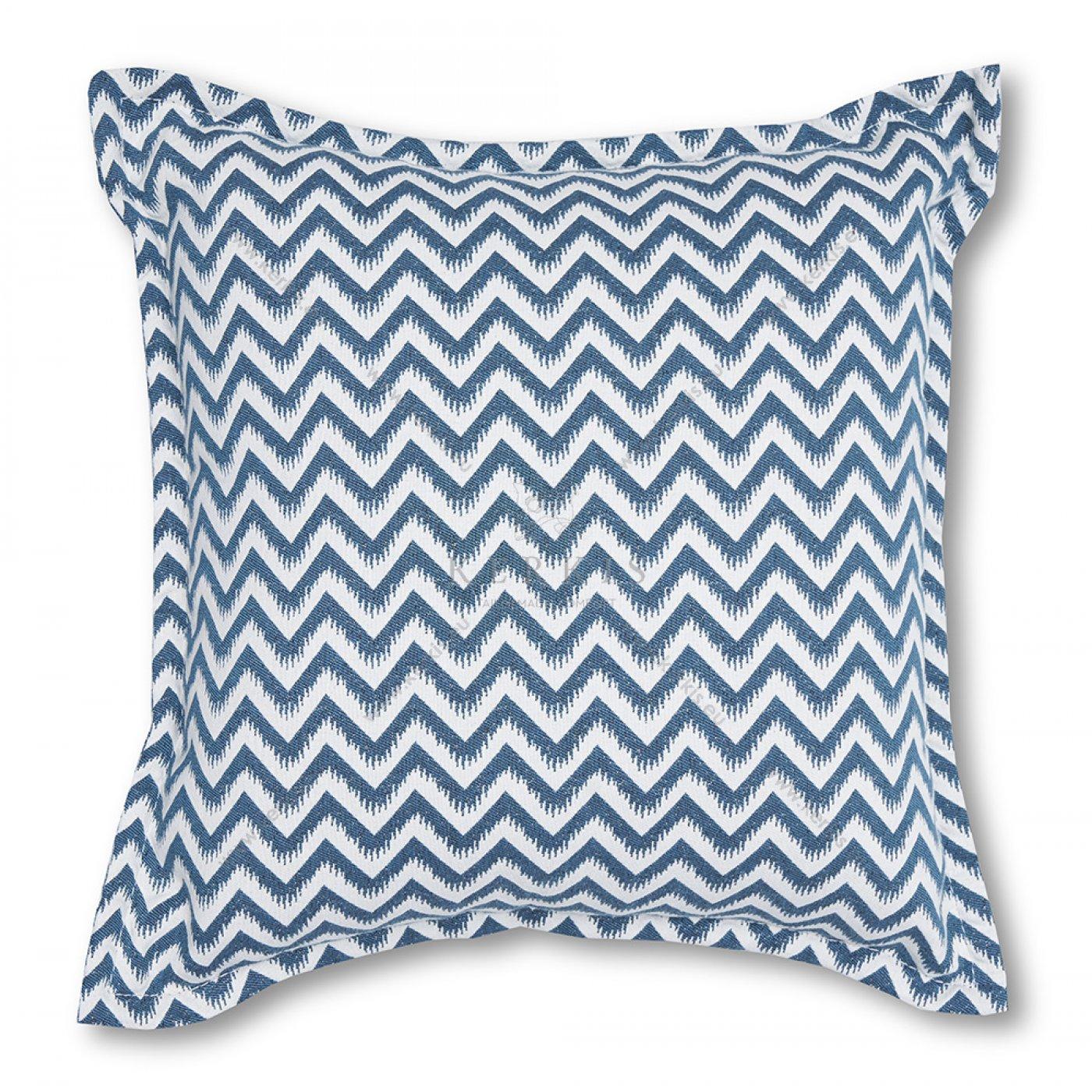 Διακοσμητικό μαξιλάρι καναπέ, χρώμα μπλε, ζικ-ζακ