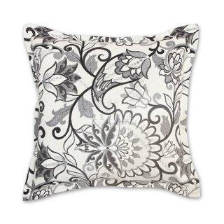Διακοσμητικό μαξιλάρι καναπέ, χρώμα γκρι, λουλούδι