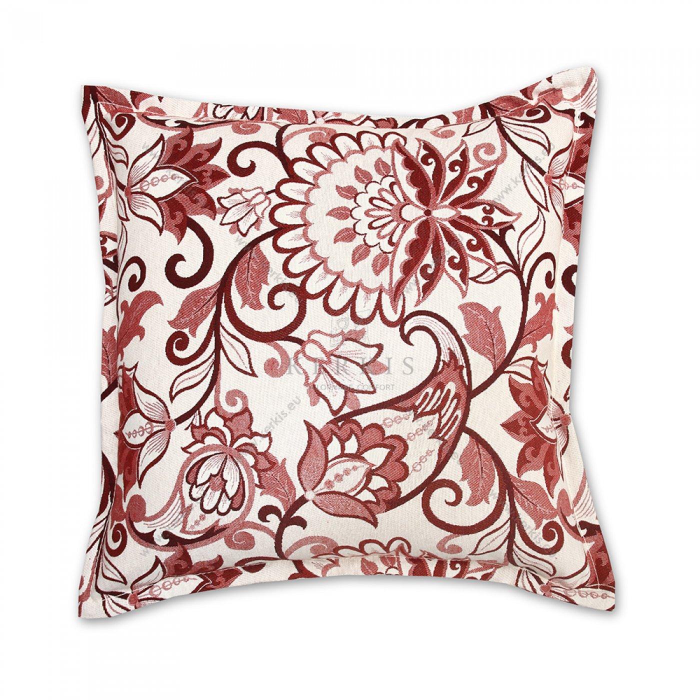Διακοσμητικό μαξιλάρι καναπέ, χρώμα κόκκινο, λουλούδι