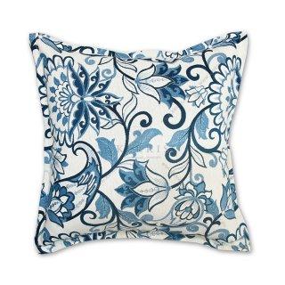 Διακοσμητικό μαξιλάρι καναπέ, χρώμα μπλε, λουλούδι