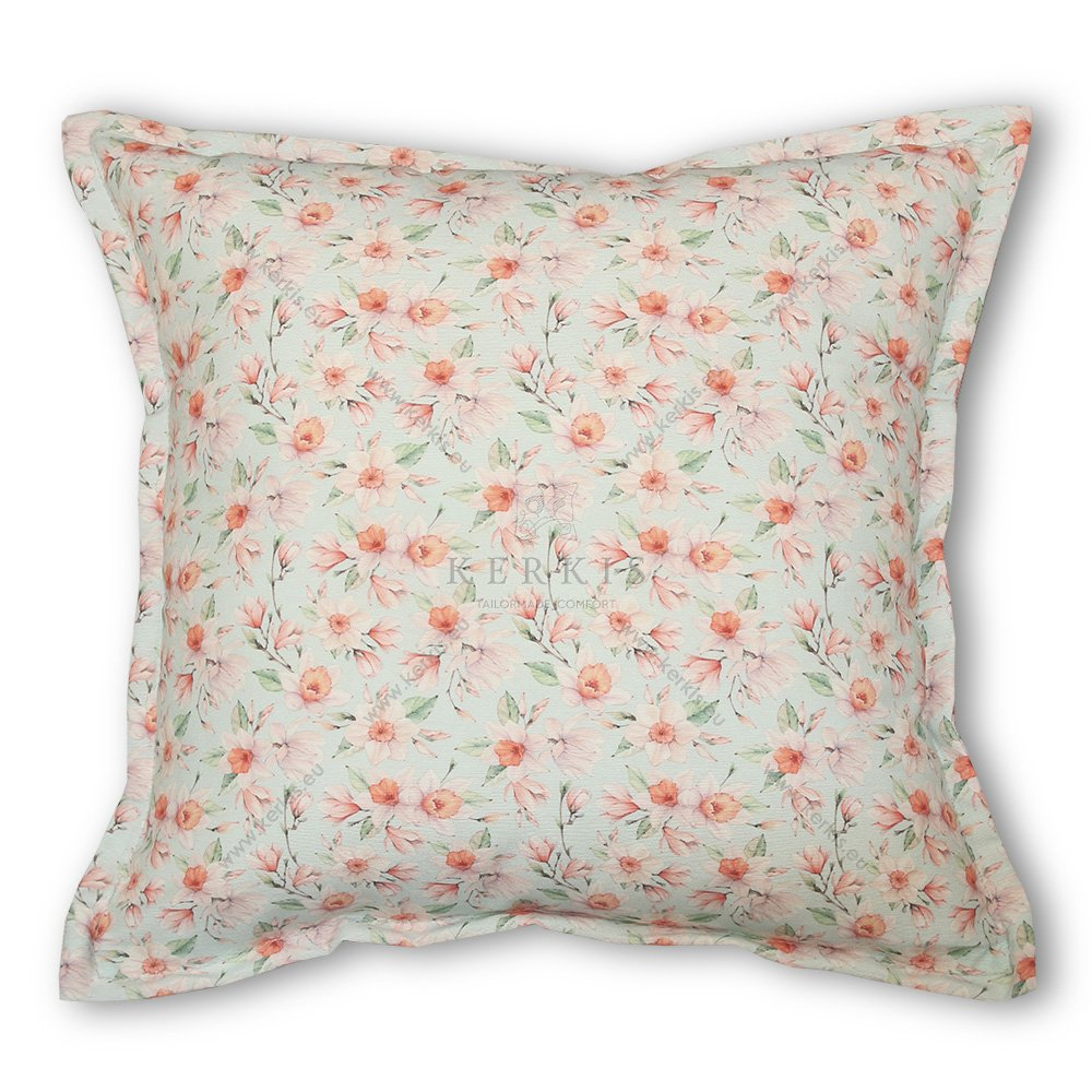 Μαξιλάρι διακοσμητικό καναπέ, χρώμα γαλάζιο, φλοράλ