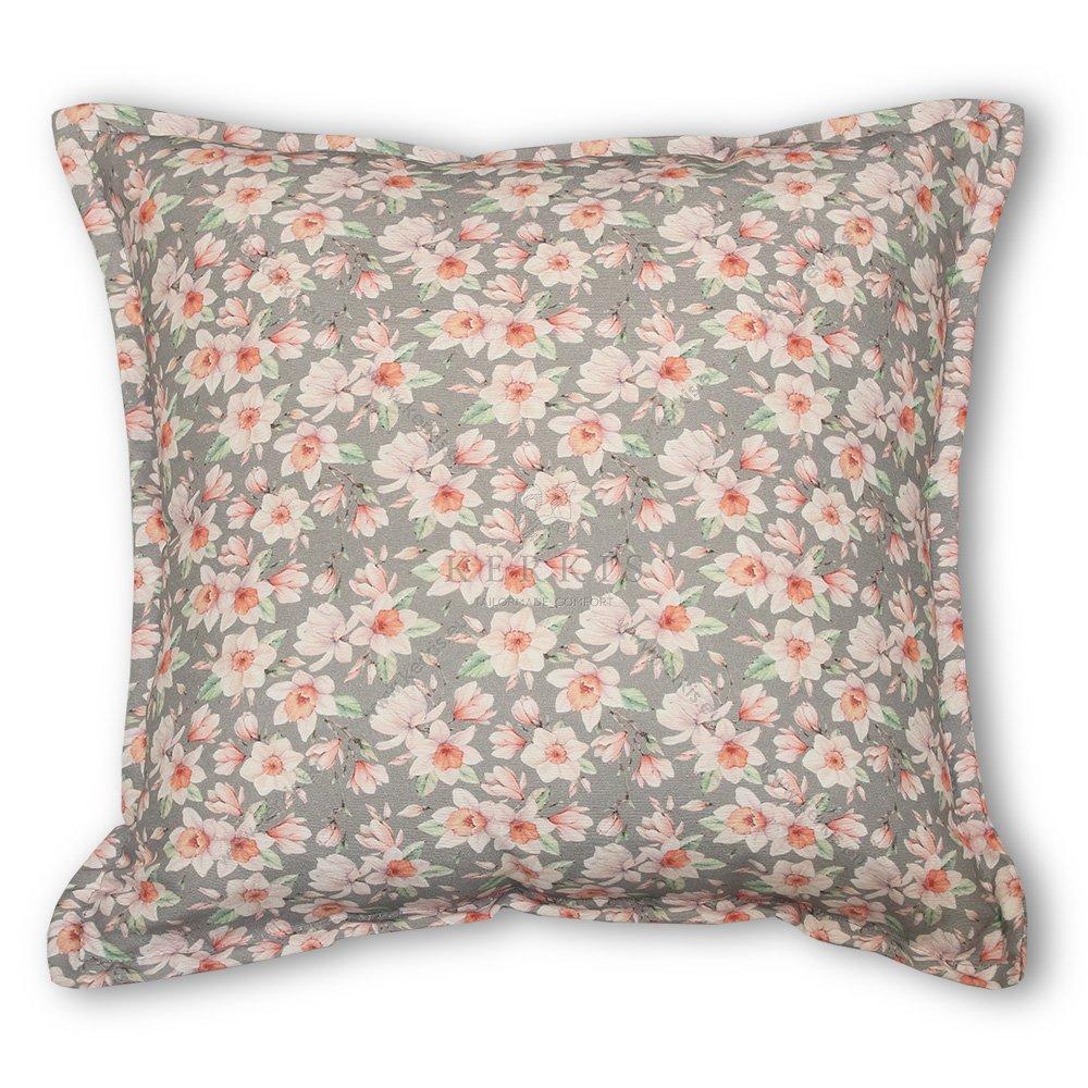 Μαξιλάρι διακοσμητικό καναπέ, χρώμα γκρι, φλοράλ