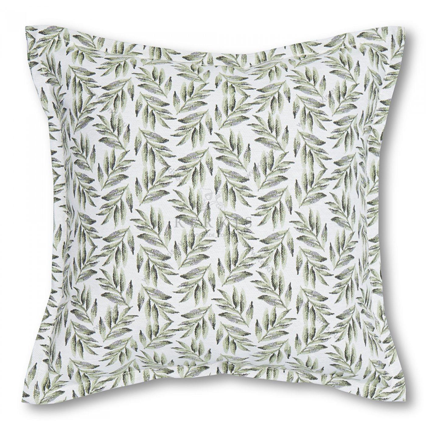 Διακοσμητικό μαξιλάρι καναπέ, χρώμα πράσινο, φύλλα ελιάς