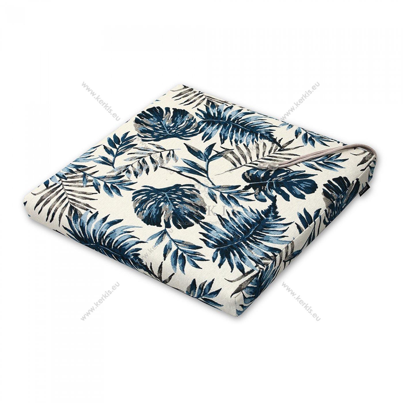 Μαξιλάρι καρέκλας μπλε φύλλα