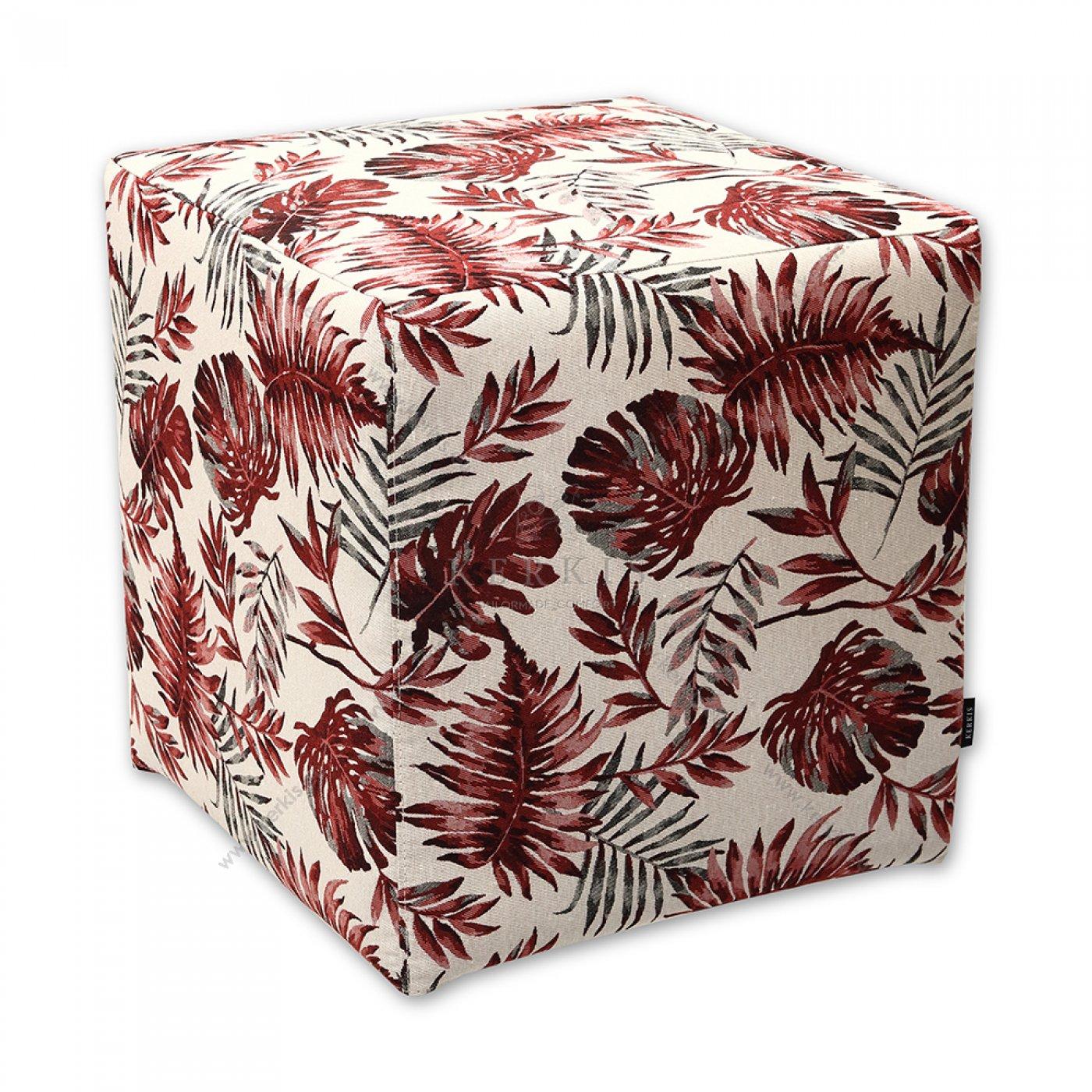 Σκαμπό κύβος κόκκινος floral