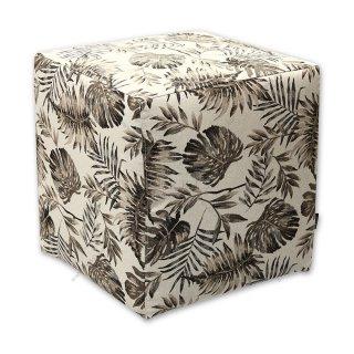 Σκαμπό κύβος μπεζ floral
