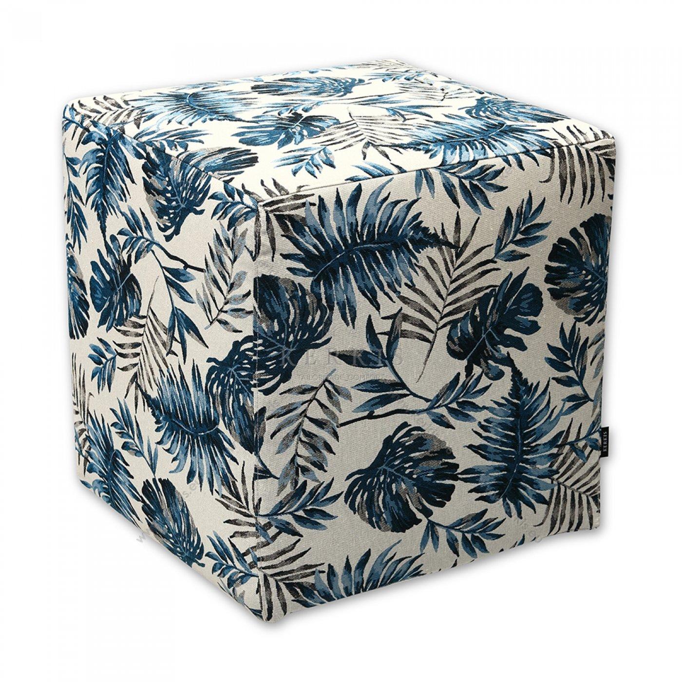 Σκαμπό κύβος μπλε φύλλα φτέρης, από την Kerkis Tailormade Comfort. Ιδανικό αναπαυτικό κάθισμα για ενοικιαζόμενα δωμάτια που χρειάζονται έπιπλα ευέλικτα, καλαίσθητα με αντοχή και εξαιρετική ποιότητα!