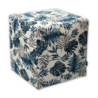 Σκαμπό κύβος μπλε floral