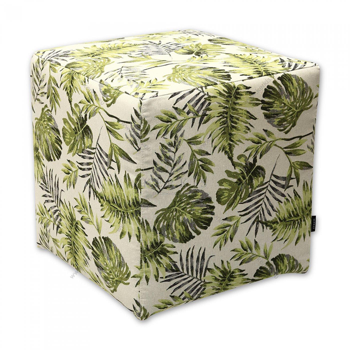 Σκαμπό κύβος πράσινο φύλλα φτέρης, κατασκευασμένος από την Kerkis Tailormade Comfort με υλικά υψηλής ποιότητας, εξαιρετική ραφή και ξύλινο σκελετό.