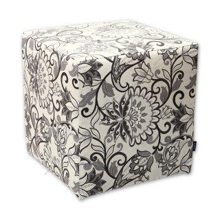 Σκαμπό κύβος floral γκρι