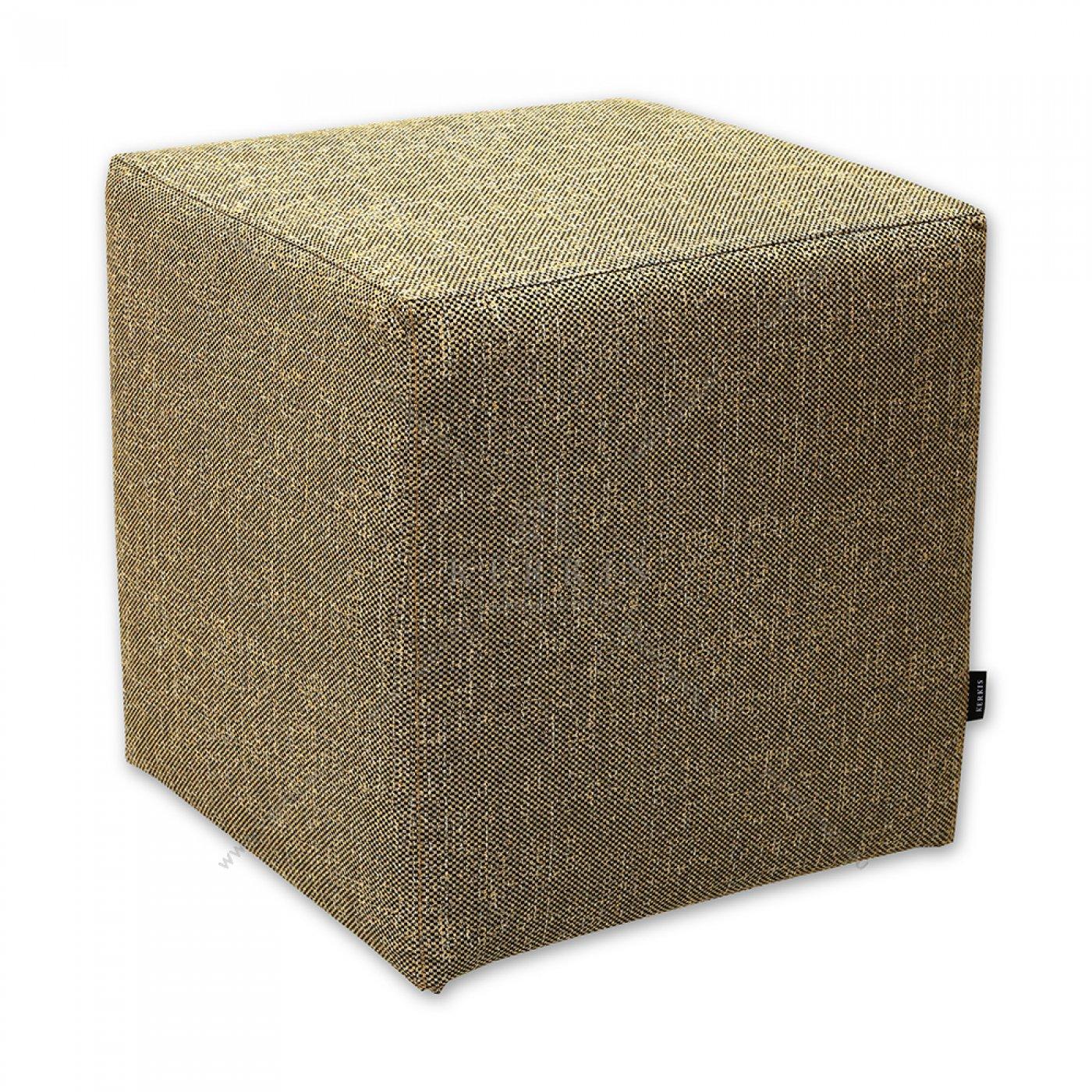 Σκαμπό κύβος από την Kerkis Tailormade Comfort με ύφασμα κίτρινο - ώχρα, κάλυμμα που αφαιρείται εύκολα για πλύσιμο ή αλλαγή.