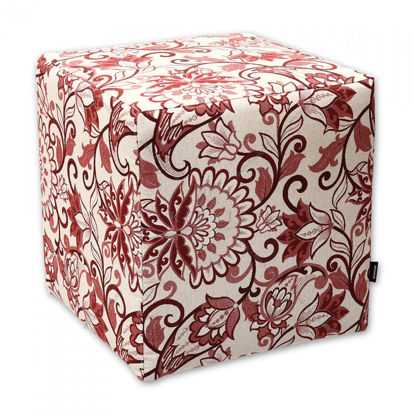 Σκαμπό κύβος κόκκινο φλοράλ, κατασκευασμένος από την Kerkis Tailormade Comfort, με αφαιρούμενο κάλυμμα για ευκολία στο πλύσιμο.