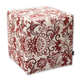 Σκαμπό κύβος floral κόκκινος