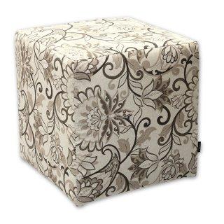 Σκαμπό κύβος floral μπεζ
