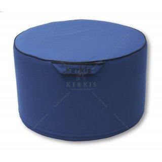 Πουφ στρογγυλό με σταθερή γέμιση με ύφασμα outdoor blue navy solution dyed