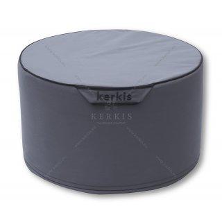 Πουφ στρογγυλό με σταθερή γέμιση με ύφασμα outdoor dark grey solution dyed