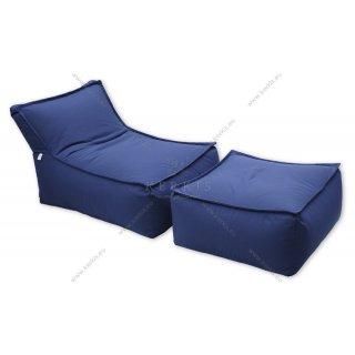 """Πουφ και σκαμπό """"Άτλας Plus"""" με ύφασμα υπέροχο μπλε χρώμα, κατάλληλο για παραλία, πισίνα, κήπο ή ακόμη και εσωτερικό χώρο!"""