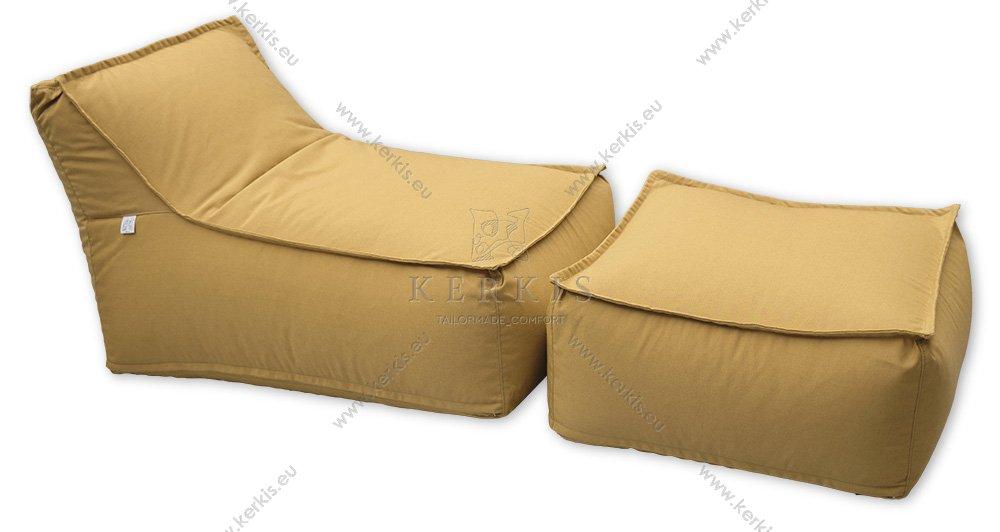 """Πουφ και σκαμπό """"Άτλας"""" με ύφασμα κίτρινο, κατάλληλο για κάθε εξωτερικό χώρο και όχι μόνο!"""