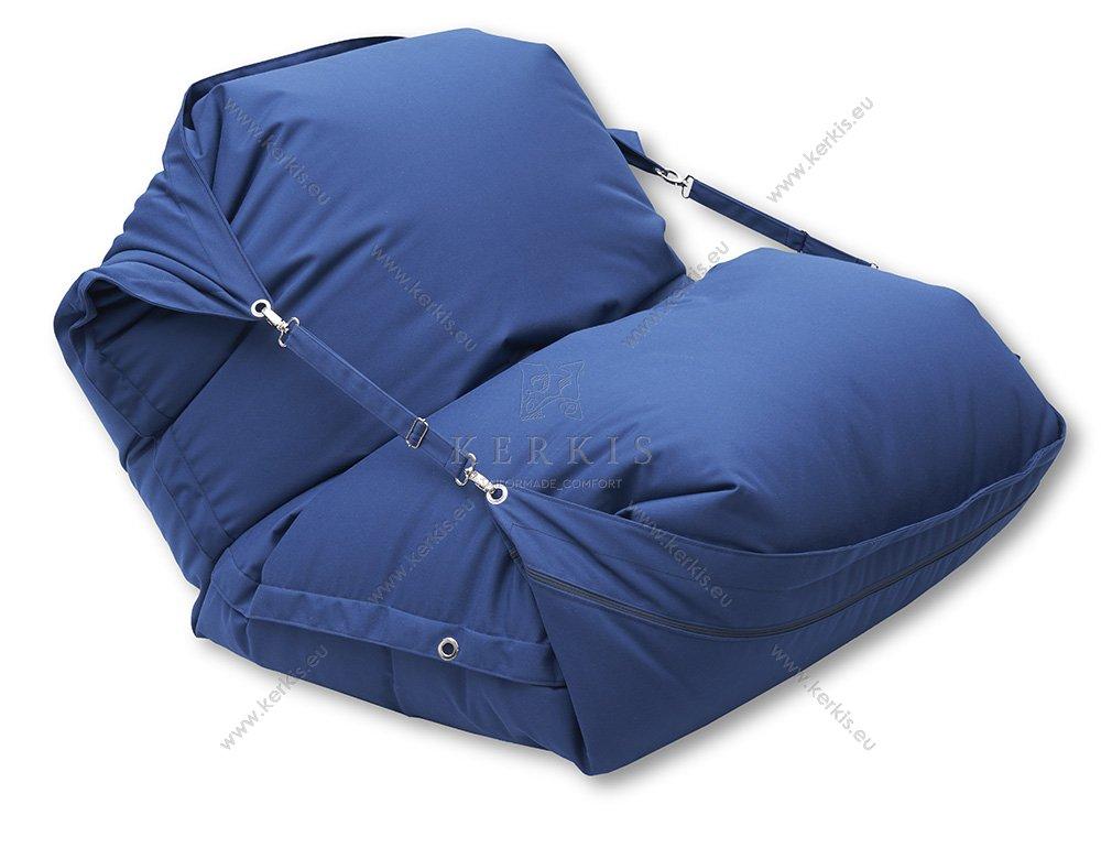 Πουφ Κρόνος με ύφασμα 100% solution dyed μπλε navy,  με πολύ μεγάλη αντοχή στον ήλιο και την υγρασία