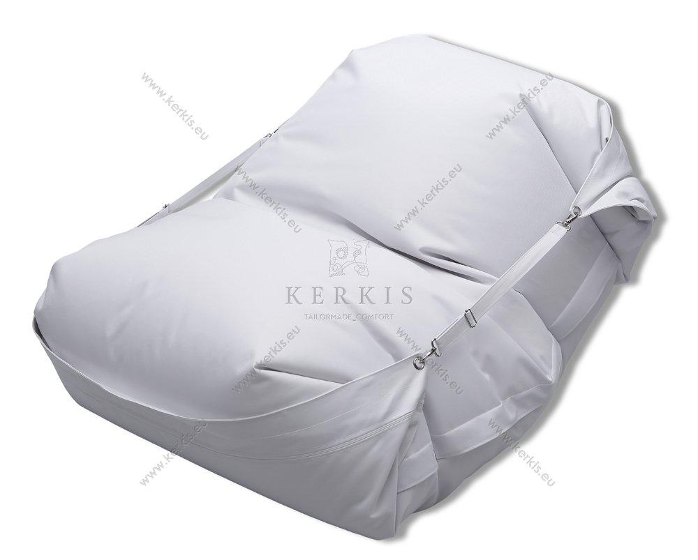 Πουφ Κρόνος με ύφασμα 100% solution dyed λευκό με πολύ μεγάλη αντοχή στον ήλιο και την υγρασία